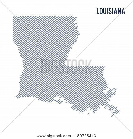 Vector Abstract Hatched Map Of State Of Louisiana Isolated On A White Background.