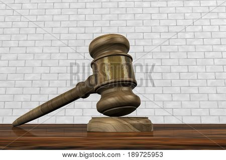 A judge hammer ensures right and order (3d rendering)