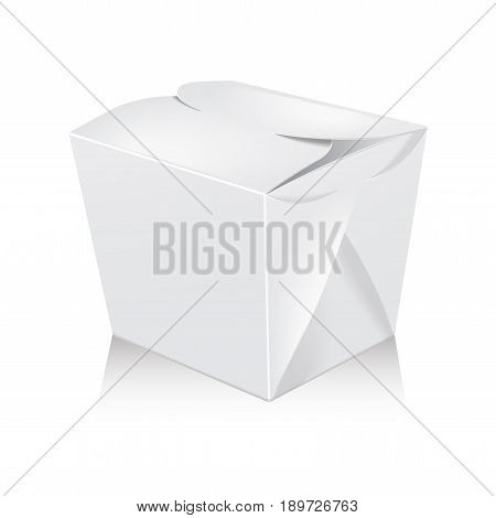 Closed white blank wok box mockup. Vector 3d packaging. Carton box for asian or chinese take away food paper bag for your design