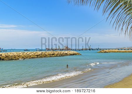 Breakwater At La Libertad Beach, Ecuador
