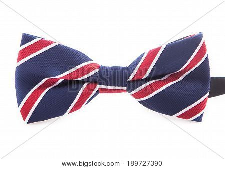 Blue Handmade Bow Tie with white and red lines Isolated On White Background.