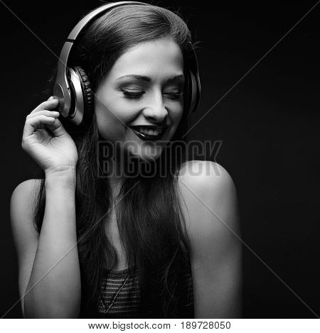 Beautiful Emotional Laughing Long Hair Young Woman Listening The Music In Wireless Yellow Headphone