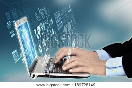 Internet Access Technology Concept with laptop showing script and data process activity