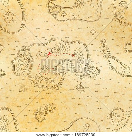 Ancient pirate map on old textured paper with red path to treasure seamless pattern