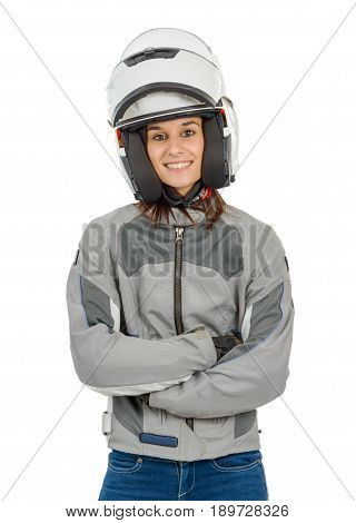 Attractive woman with motorcycle white helmet with opened shield system isolated on white background