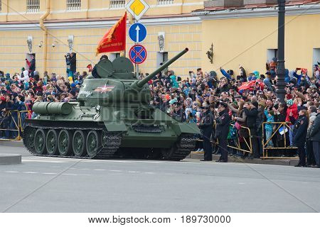 SAINT-PETERSBURG, RUSSIA - JULY 18, 2015: Soviet tank of the Great Patriotic War T-34-85 on the parade in honor of the Victory Day