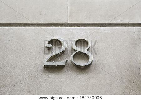 Number Twenty-eight On The Wall