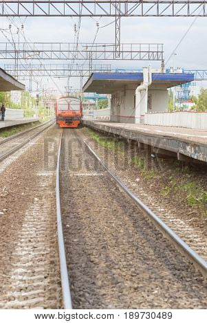 The Train Stopped At A Small Railway Station. Russian Railways