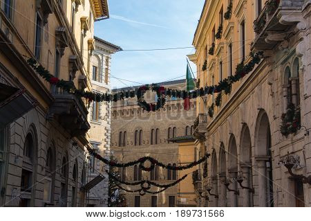Italy Siena - December 26 2016: the view of christmas decorations on the streets of Siena on December 26 2016 in Siena Tuscany Italy.