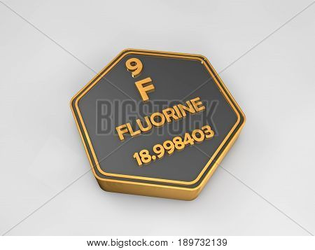 fluorine - F - chemical element periodic table hexagonal shape 3d illustration