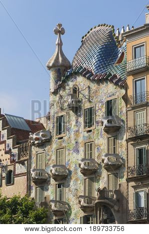 The Modernist Casa Batllo Facade, Designed By Antoni Gaudi, In Barcelona, Spain