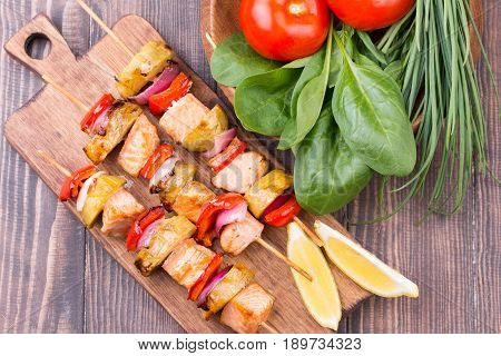 Grilled Salmon And Vegetables On Skewers.