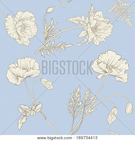 Seamless pattern with poppy flowers in botanical vintage style in pastel colors. Stock line vector illustration.