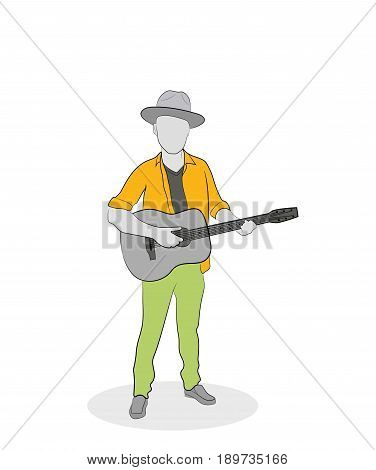 Jazzman man with a guitar. Hand drawn cartoon vector illustration for design and infographics.