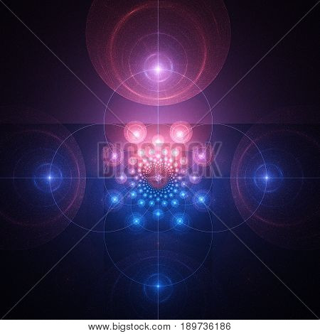 Screen of radar. Mysterious glow. 3D surreal illustration. Sacred geometry. Mysterious psychedelic relaxation pattern. Fractal abstract texture. Digital artwork graphic astrology magic