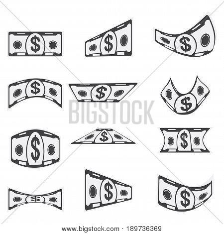 Set Of Black Paper Banknotes