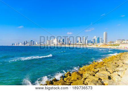 Beach And The City Skyline, In Tel-aviv