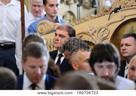 Orel Russia - July 28 2016: Russia baptism anniversary Divine Liturgy. Vadim Potomsky Orel city governor selective focus
