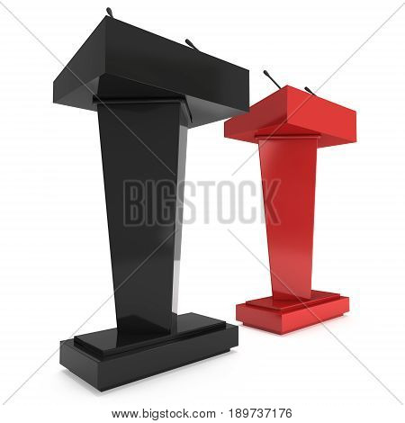 3d Speaker Podium. Red and Black Tribune Rostrum Stand with Microphones. 3d render isolated on white background. Debate, press conference concept
