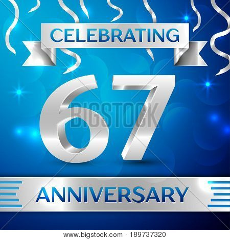 Sixty seven Years Anniversary Celebration Design. Confetti and silver ribbon on blue background. Colorful Vector template elements for your birthday party. Anniversary ribbon