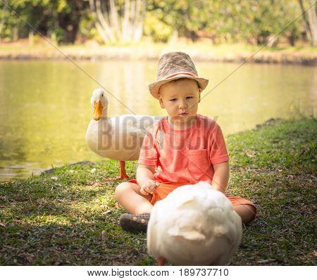 Boy and ducks near lake. Mauritius