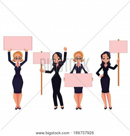 Girls, women, businesswomen in business suits holding empty boards, strike, protest concept, cartoon vector illustration isolated on white background. Businesswomen, women with empty boards on strike
