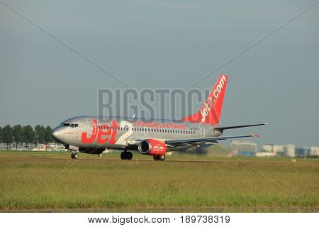 Amsterdam the Netherlands - June 1st 2017: G-CELY Jet2 Boeing 737-300 taking off from Polderbaan Runway Amsterdam Airport Schiphol