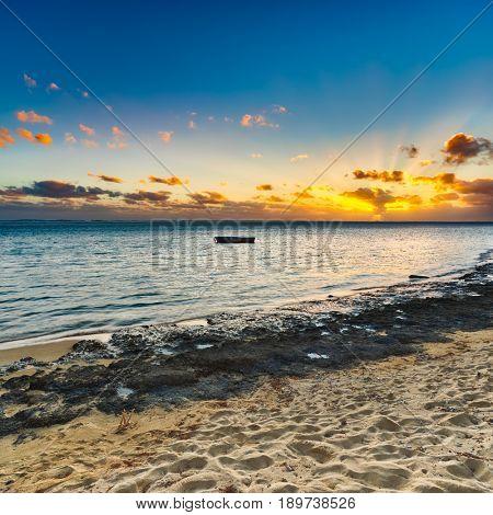 White sandy beach at sunset. Mauritius. Panorama
