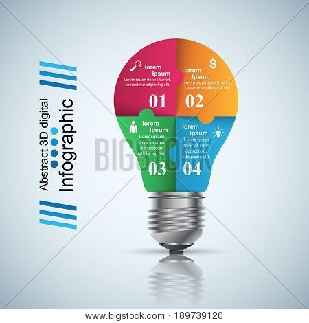 Infographic design template and marketing icons. Bulb icon. Light icon.