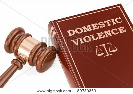 Domestic violence concept with gavel and book 3D rendering