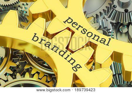 personal branding concept on the gearwheels 3D rendering