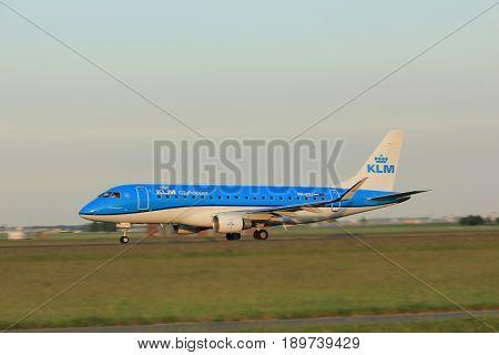 Amsterdam the Netherlands - June 1st 2017: PH-EXJ KLM Cityhopper Embraer ERJ-175STD taking off from Polderbaan Runway Amsterdam Airport Schiphol