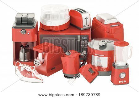 Set of red kitchen home appliances. Toaster kettle coffeemaker iron microwave oven mixer blender