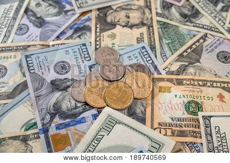 Money Background - Us Dollar Banknotes With Coin