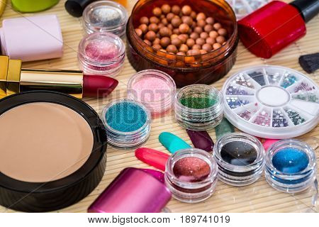 professional cosmetics tools for makeup. close up