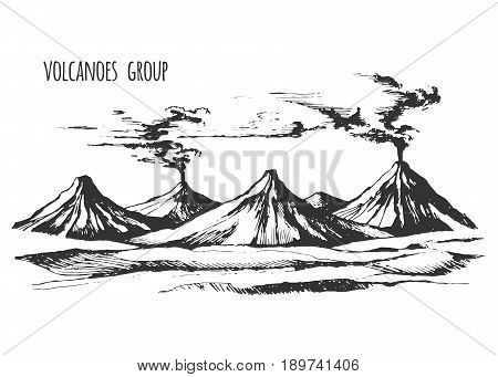 Volcanoes group landscape vector sketch. Smoke before the eruption. We woke up the mountain. Monochrome illustration.