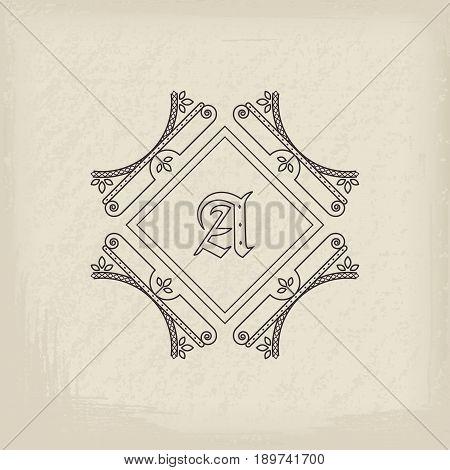 Vintage monogram. Vector emblem for calligraphic luxury logos and retro ornamental design.