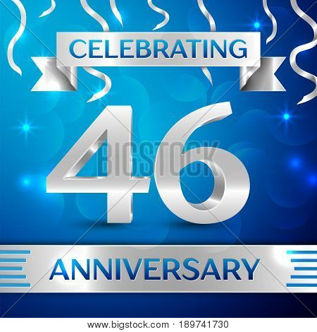 Forty six Years Anniversary Celebration Design. Confetti and silver ribbon on blue background. Colorful Vector template elements for your birthday party. Anniversary ribbon