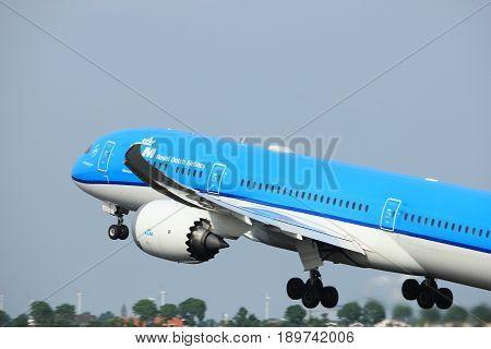 Amsterdam the Netherlands - June 2nd 2017: PH-BHG KLM Royal Dutch Airlines Boeing 787-9 Dreamliner taking off from Polderbaan Runway Amsterdam Airport Schiphol