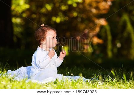 Adorable cute baby girl sitting on green meadow and eating the pastry. Cute baby in the white beauty dress. Horizontal photo. Sunshiny warm day in the city park. Summer or spring season. Concept of the happy babies.