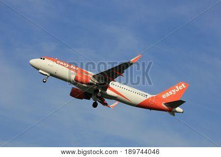 Amsterdam the Netherlands - June 2nd 2017: G-EZPB easyJet Airbus A320 taking off from Polderbaan Runway Amsterdam Airport Schiphol