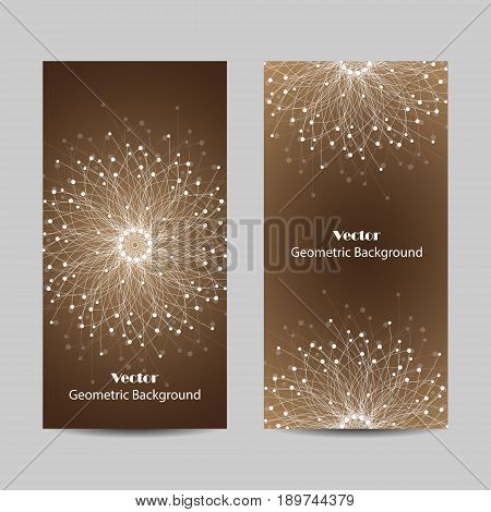 Set of vertical banners. Geometric pattern with connected lines and dots. Vector illustration on brown background.