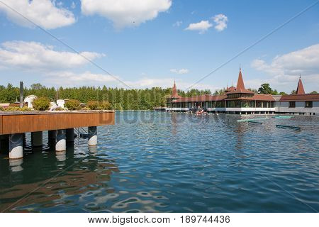 Lake Heviz the wolrd 2nd largest natural warm water lake in Hungary