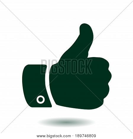 Like  icon. Hand finger up sign. Thumb up symbol. Flat design style.