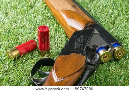 Beautiful weapon lies on green grass with cartridges