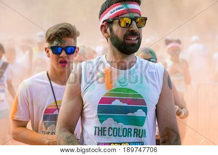 Men Participating In The Color Run In Prague