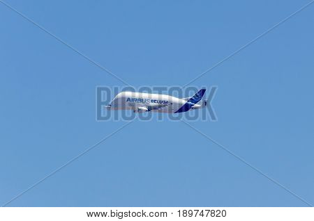 ARANJUEZ MADRID SPAIN - JUNE 3: Airbus Beluga flying on June 3 2017 in Aranjuez Madrid Spain. Beluga is a version of the standard A300-600 wide-body airliner modified to carry aircraft parts and oversized cargo.