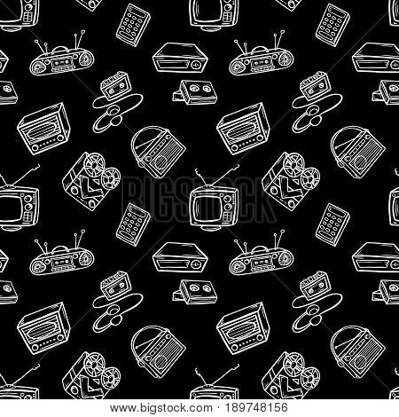 Seamless pattern with retro devices. Hand drawn black and white vector illustration.