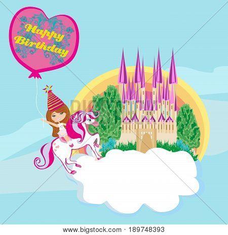 Girl on a unicorn - Birthday card , vector illustration