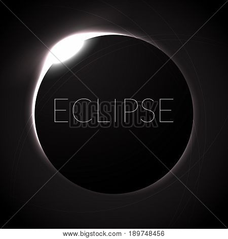 Full eclipse vector illustration. Eclipse with ring of sun in deep space. Full Solar eclipce, dark colors